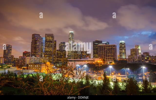 Los Angeles at night - Stock Image