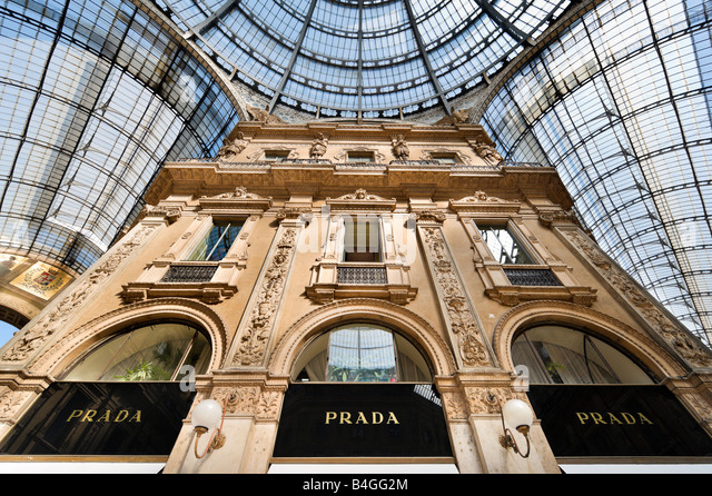 Prada Store in the Galleria Vittorio Emmanuele II, Milan, Lombardy, Italy - Stock Image