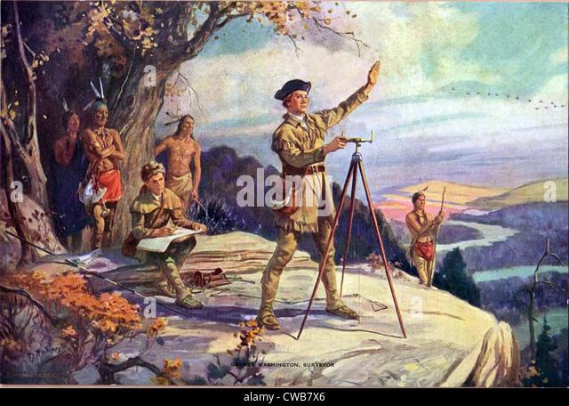 George Washington as a young surveyor. 19th century painting - Stock Image
