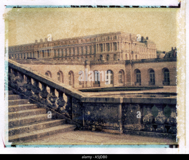 Polaroid transfer of Palace of Versailles France  - Stock Image