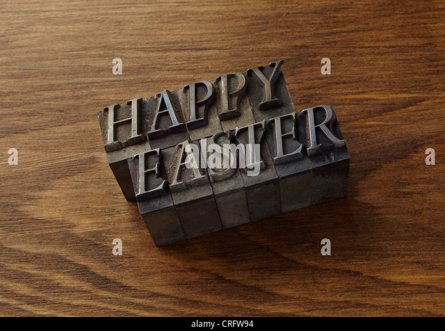 Lead type spelling 'Happy Easter' - Stock Image