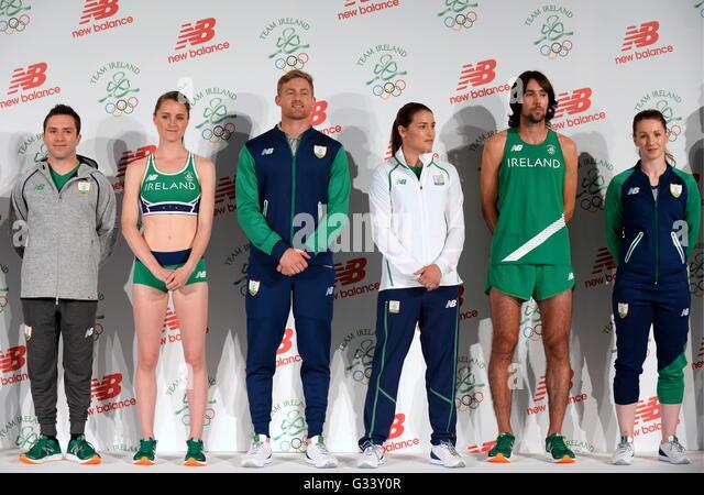 Irish Olympic team 2016 members (left-right) Oliver Dingley, Ciara Mageean, Arthur Lannigan O'Keefe, Katie Taylor, - Stock Image