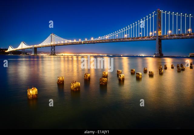 Night View of the the Western Section of the San Francisco-Okland Bay Bridge, San Francisco, California, USA. - Stock Image