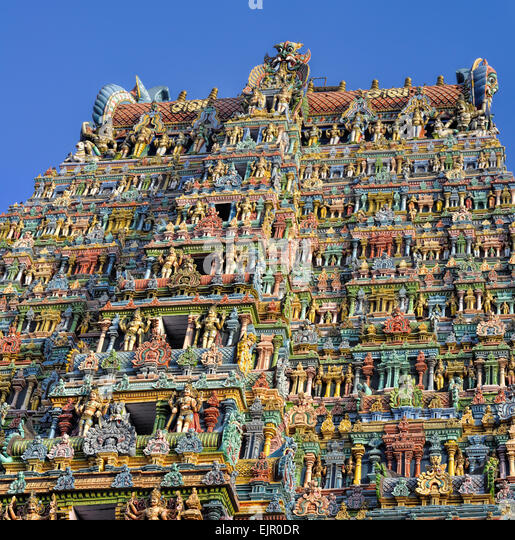 Colorful tower of Meenakshi Amman Temple in India - Stock Image