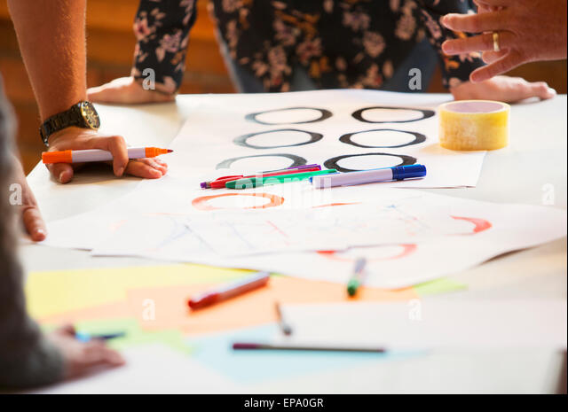 creative business people proofs table - Stock Image