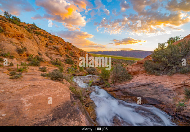 Waterfall near Moab, Utah, BLM Lands near Ken's Lake - Stock-Bilder