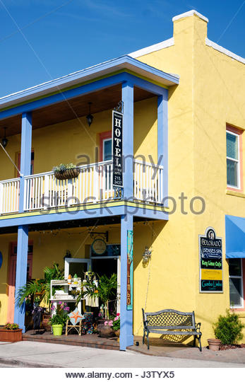 Stuart Florida Historic Downtown The Colorado building renovated shops business district balcony railing bright - Stock Image