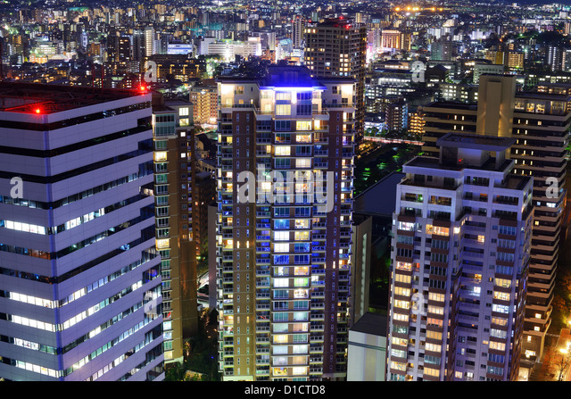 Cityscape of Fukuoka, Japan. - Stock-Bilder