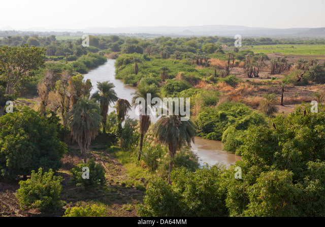 Fertile, agriculture, Afar, Asaita, Africa, town, city, river, flow, brook, body of water, water, agriculture, Ethiopia, - Stock Image