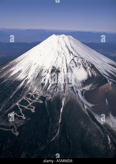 Aerial view of Mt Fuji Japan - Stock Image