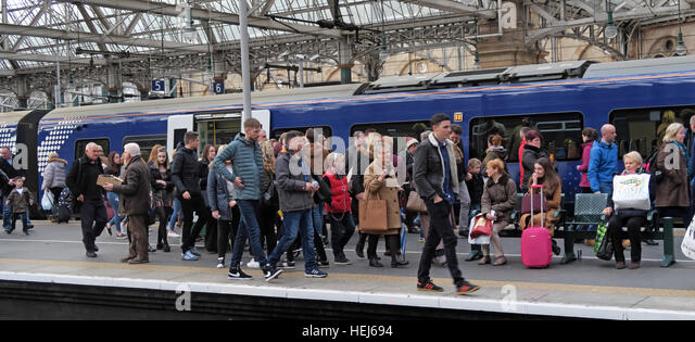 Scotrail Abellio congested train carriage,petition to bring back into state ownership,after poor service - Stock Image