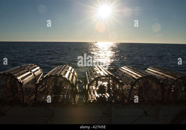 Baited lobster traps sit on the washboard waiting to be dropped Canada - Stock Image