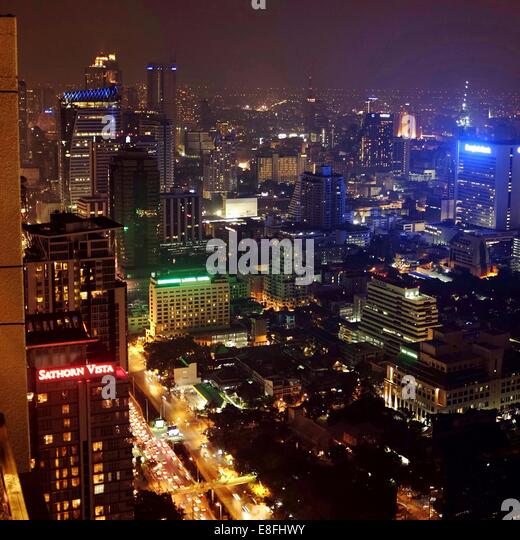 Thailand, Bangkok, Cityscape at night - Stock Image