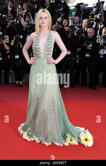 70th Cannes Film Festival 2017, Exit Red Carpet film : 'How to talk at girls at parties' Pictured : Elle - Stock Image