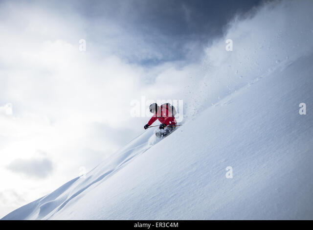 Man powder skiing, Salzburg, Austria - Stock Image