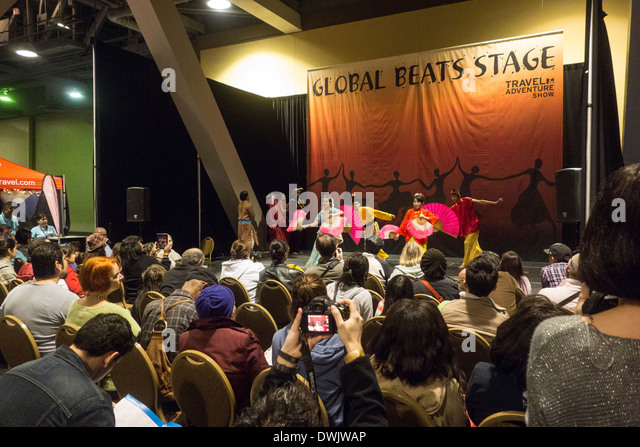 dance performance by Asian dancers in traditional dress at Travel Trade Show in Los Angeles California United States - Stock-Bilder
