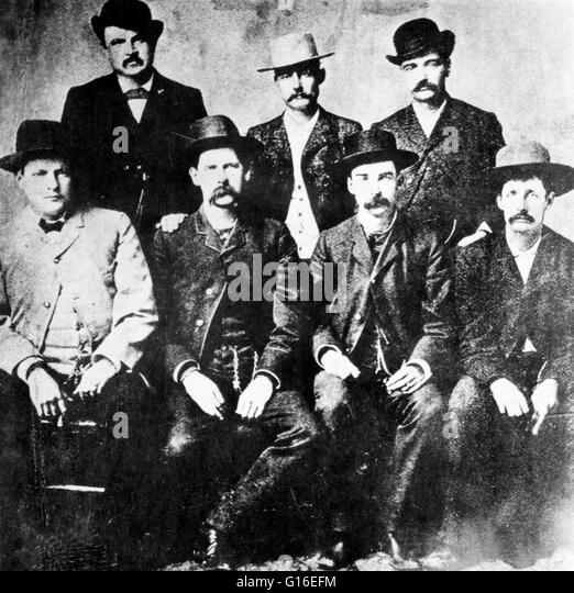 The Dodge City Peace Commission, June 1883. From left to right, standing: W.H. Harris, Luke Short, Bat Masterson, - Stock Image