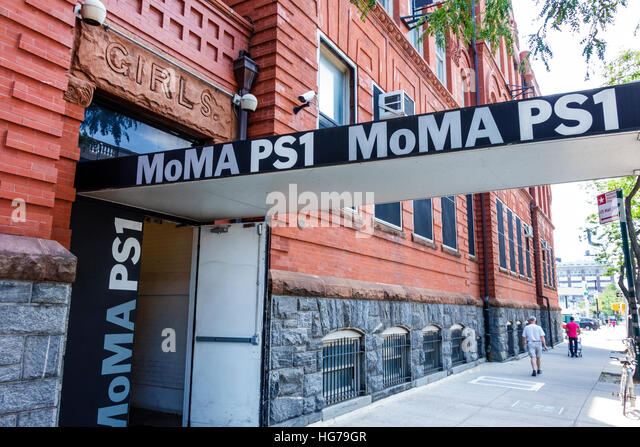 New York New York City NYC Queens Long Island City MoMA PS1 contemporary art museum exterior entrance sign door - Stock Image