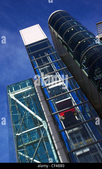 Modern contrasting architecture in the City of London. - Stock Image
