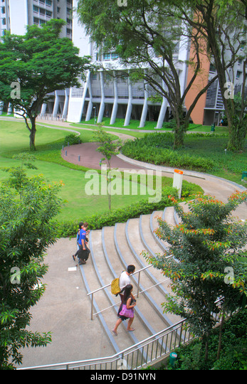 Singapore National University of Singapore NUS University Town school student campus Asian man woman steps - Stock Image