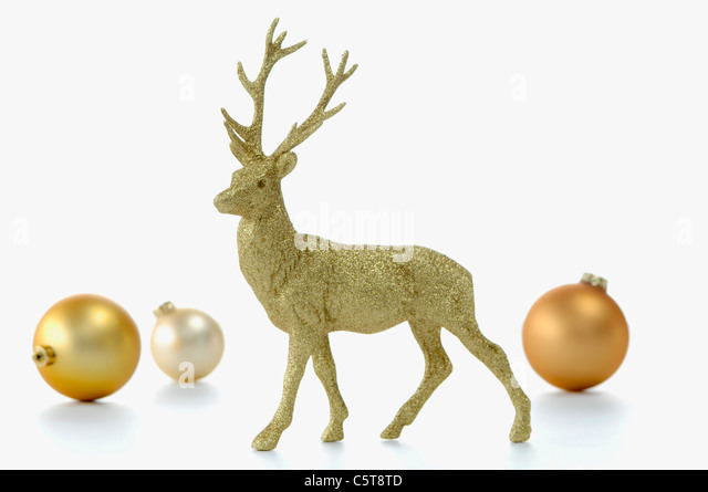 Christmas decoration, Golden stag figurine - Stock Image