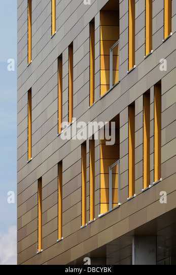 Chasse Park Housing, Breda, Netherlands. Architect: OMA, 2001. Detail of window openings in facade of apartment - Stock Image
