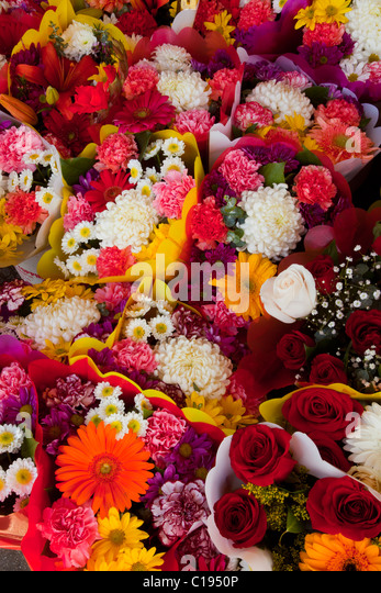 Flowers, Los Angeles Flower District, downtown LA, California, USA - Stock-Bilder