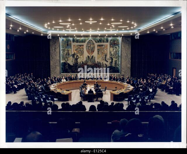 Jan. 31, 1992 - At a time of momentum change, the first summit-level meeting of the United Nations Security Council - Stock Image