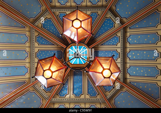 England, London, The City, Leadenhall Market, Ceiling Detail - Stock Image