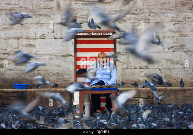 Pigeon feed seller, Istanbul, Turkey - Stock Image