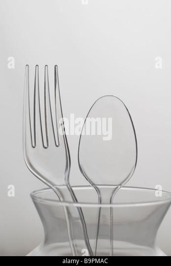 Plastic spoon and fork - Stock-Bilder