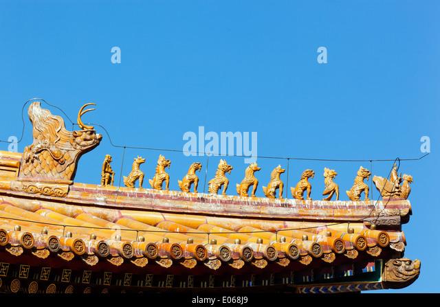 Ornate roof in the Forbidden City. - Stock-Bilder