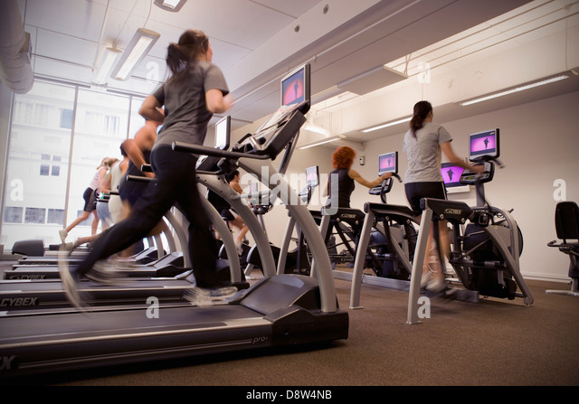 People running on treadmills in the cardio room in a gymnasium, Auckland, New Zealand - Stock Image