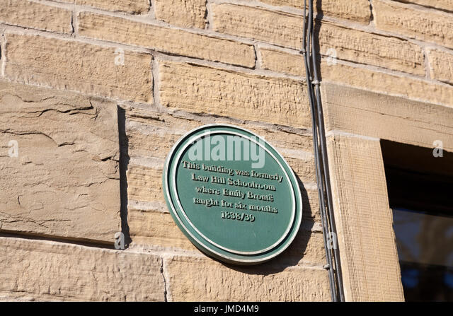 Plaque for Emily Brontë at the former Law Hill School, Southowram, West Yorkshire - Stock Image