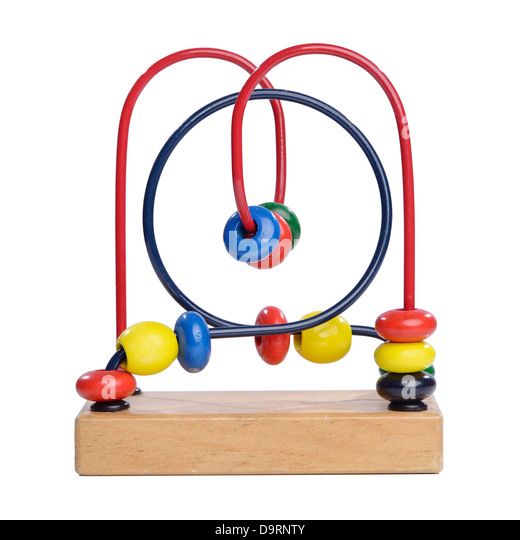 Wooden bead maze toy - Stock Image