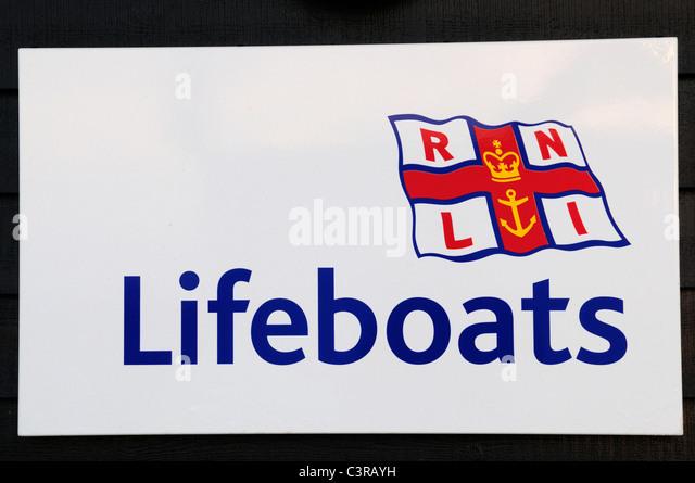 RNLI Lifeboats Sign, Southwold Lifeboat Station, Suffolk, England, UK - Stock Image