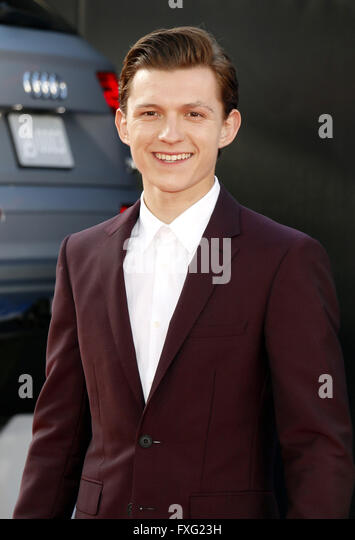 Hollywood, California, USA. 12th April, 2016. Tom Holland at the World premiere of 'Captain America: Civil War' - Stock Image