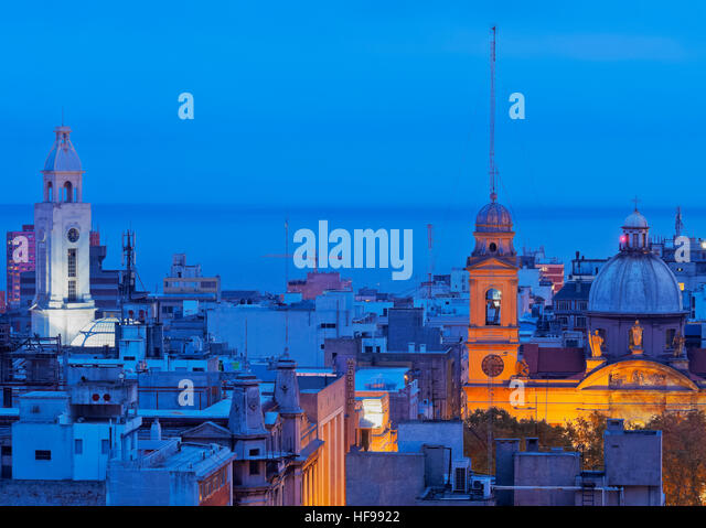 Old Town at dusk, Montevideo, Uruguay - Stock Image