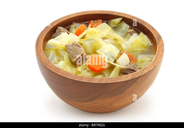 Cabbage Soup (Cabbage, Beef, Carrots, Potatoes, Tomatoes, Parsley) - Stock Image