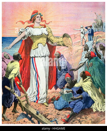 Illustration depicting France as the benefactor of riches for the people of Morocco; illustration from 'Le Petit - Stock Image