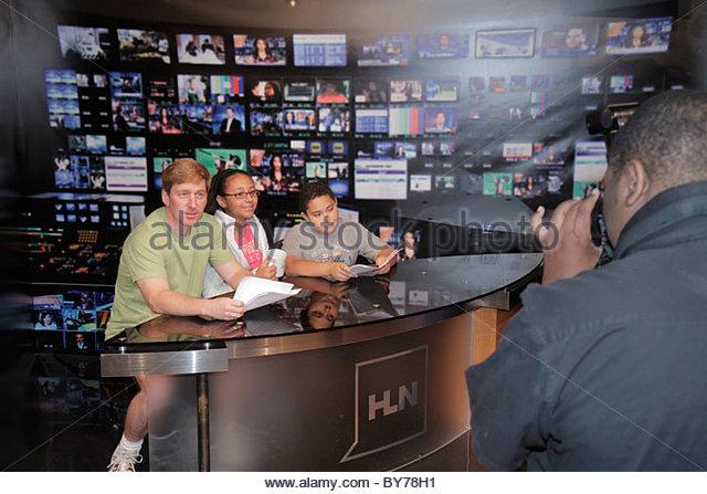 Atlanta Georgia CNN Center Cable News Network television news media world headquarters Inside CNN Studio Tour anchor - Stock Image