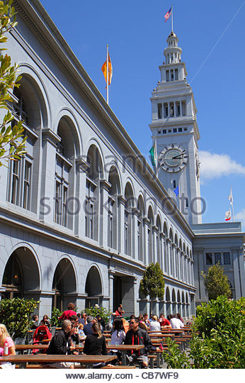 San Francisco California 101 The Embarcadero Ferry Building 1898 clock terminal tower Arthur Page Brown architect - Stock Image