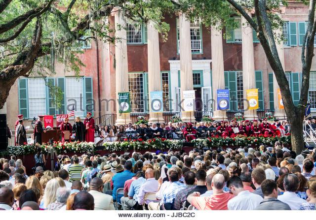 South Carolina Charleston SC College of Charleston university Cistern Yard graduation ceremony commencement student - Stock Image