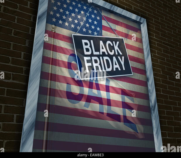 Black Friday holiday sale banner sign on a store window with an American flag reflection to celebrate the season - Stock Image