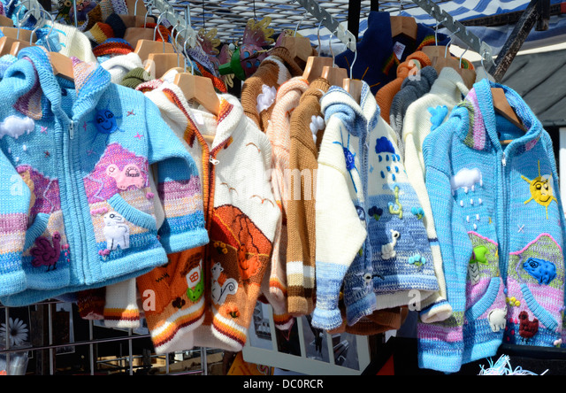 Knitting Items For Sale : Children s clothes stall stock photos