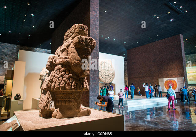 MEXICO CITY, MEXICO--The National Museum of Anthropology showcases  significant archaeological and anthropological - Stock-Bilder