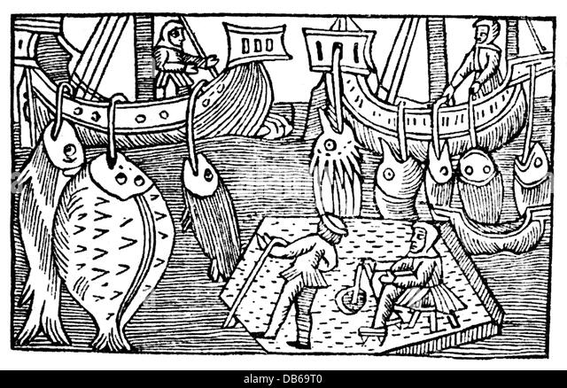 fishing, fishing at Iceland, woodcut, 'History of the Northern People' ('Historia de Gentibus Septentrionalibus') - Stock Image