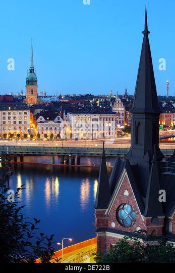 Night view of Stockholm old city - Stock Image