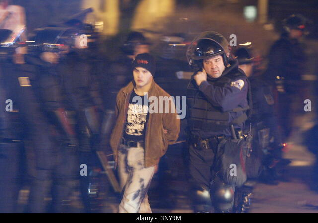 Anti-war, anti George W Bush, and anti corporate protesters are arrested at Dupont Circle by the D.C. Metro Police - Stock Image