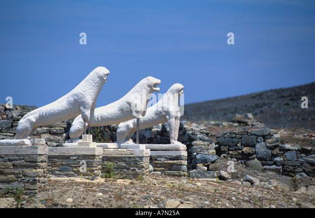 GREECE Terrace of the Lions at Delos national symbol iconic image blue sky background - Stock Image